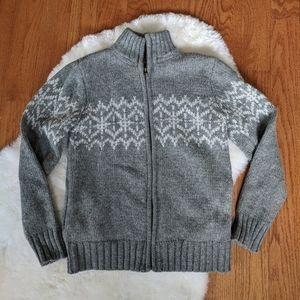 Okaidi France knit cardi sweater zip up mock neck